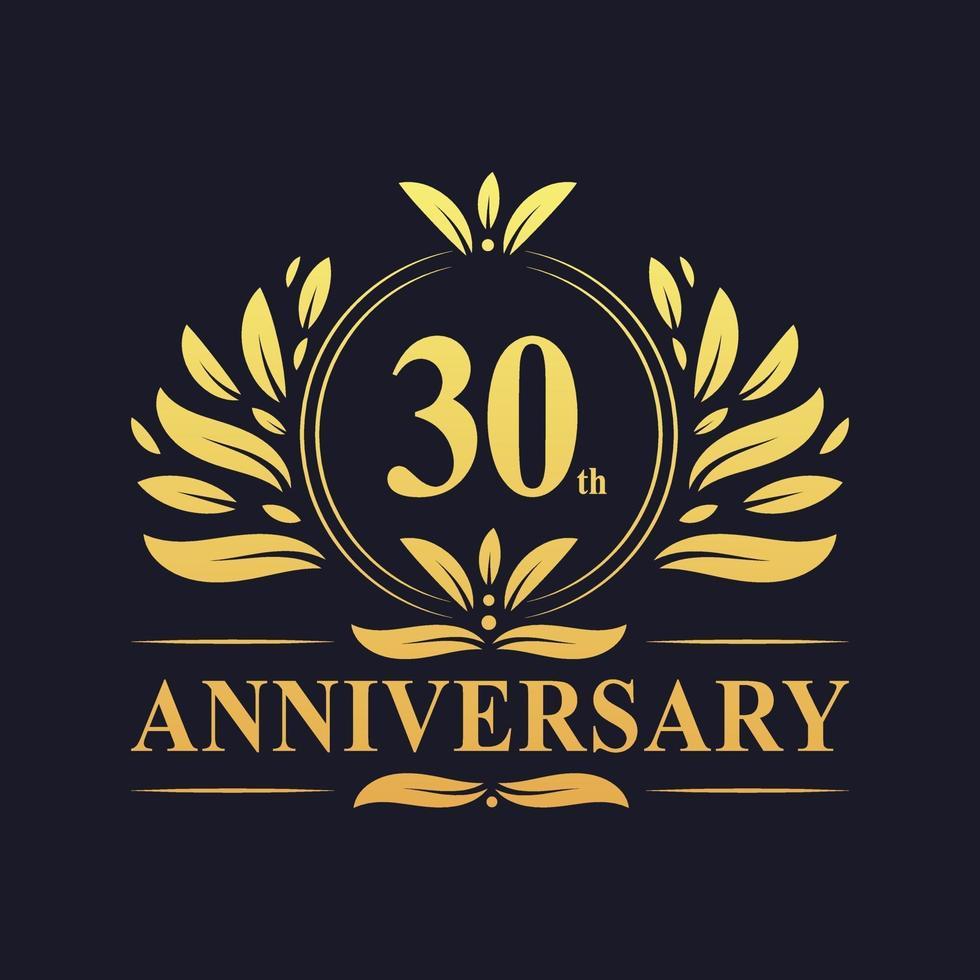 Conception du 30e anniversaire, logo d'anniversaire de 30 ans de couleur dorée vecteur