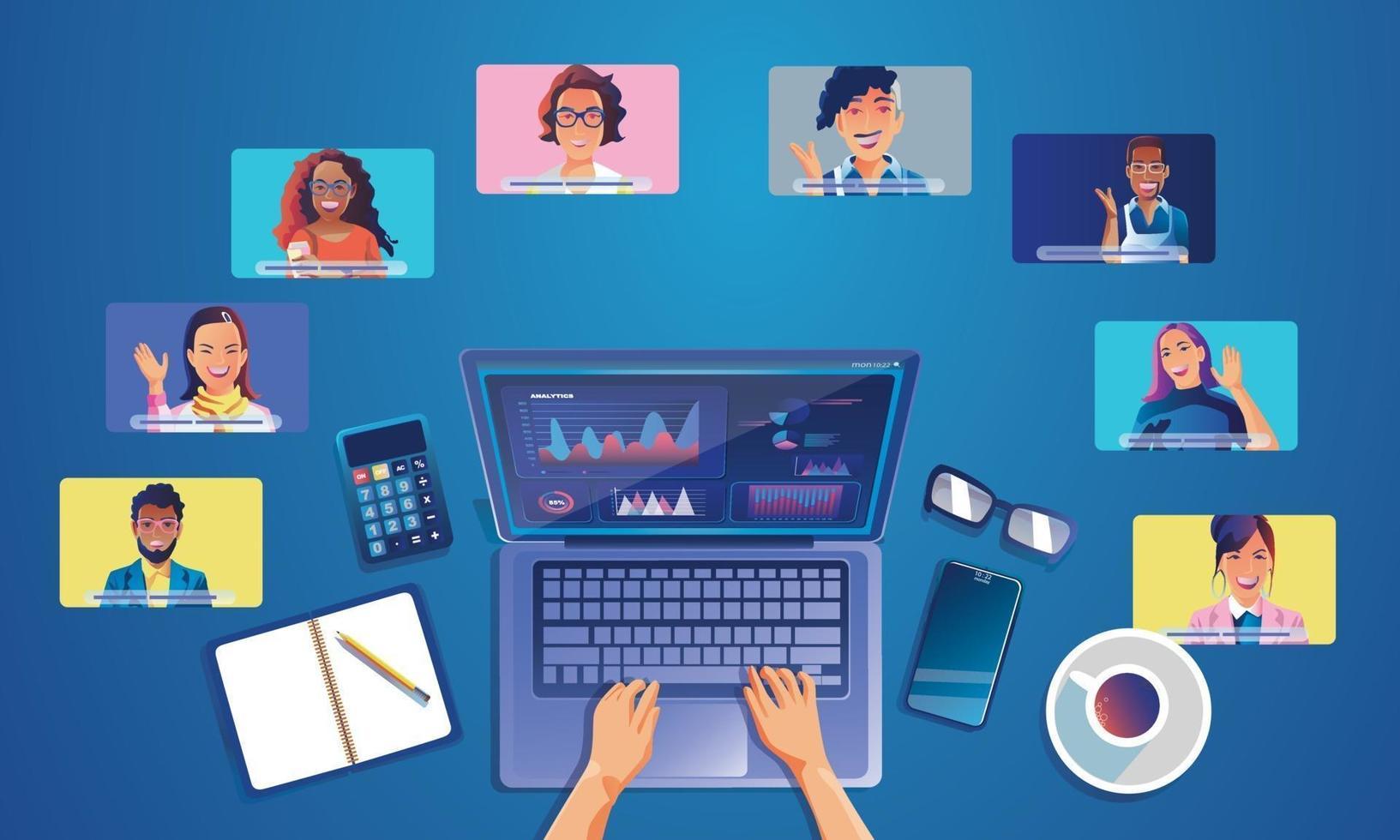 les gens d'événements virtuels utilisent la vidéoconférence. personne travaillant à l'écran en parlant avec des collègues. vidéoconférence et page d'espace de travail de réunion en ligne, hommes et femmes apprenant vecteur