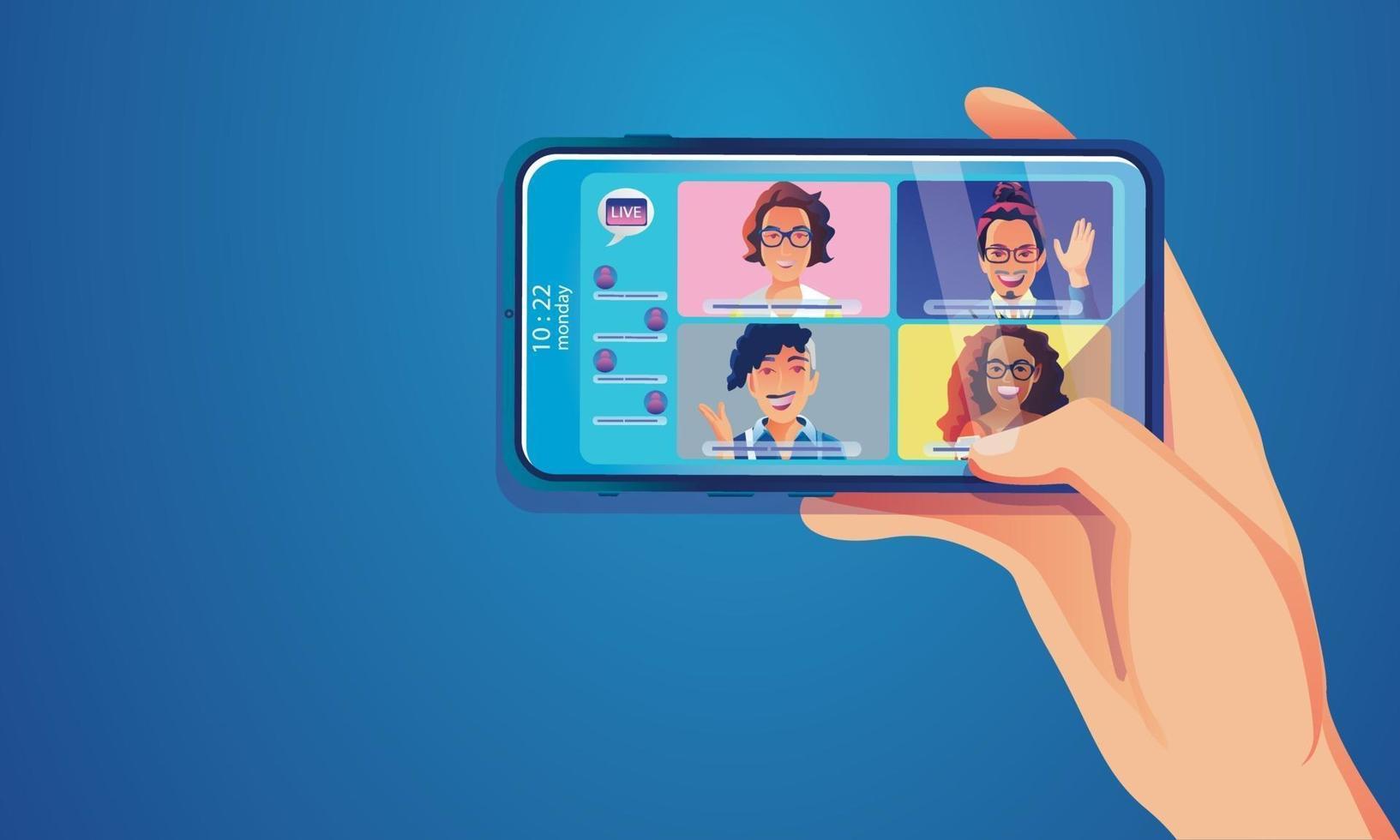 les gens d'événements virtuels utilisent la vidéoconférence au téléphone. des gens qui parlent avec des collègues. vidéoconférence et page de l'espace de travail de réunion en ligne vecteur