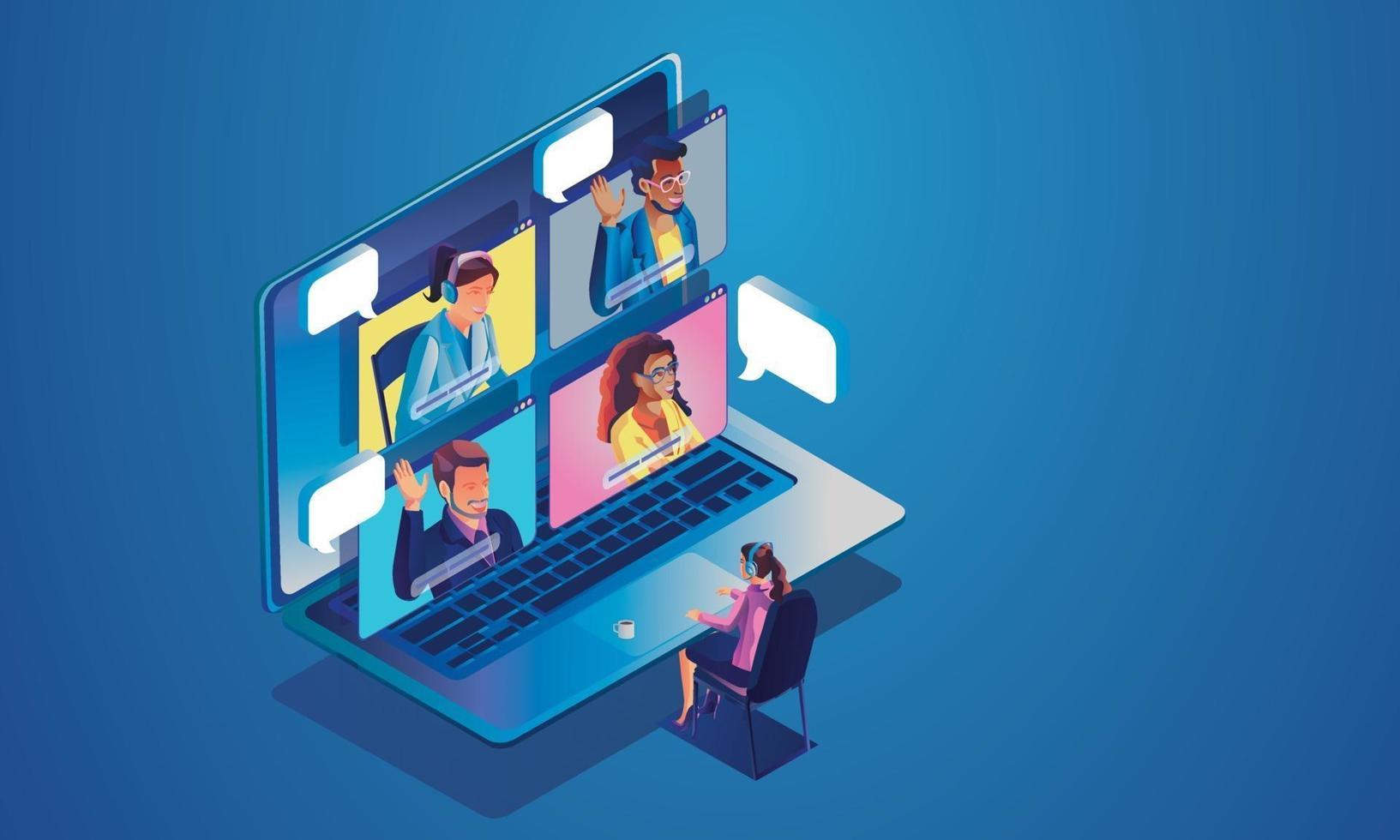 les gens d'événements virtuels utilisent la vidéoconférence. femme d'affaires de travail sur l'écran de la fenêtre, parler avec des collègues visioconférence isométrique et page de l'espace de travail de réunion en ligne vecteur