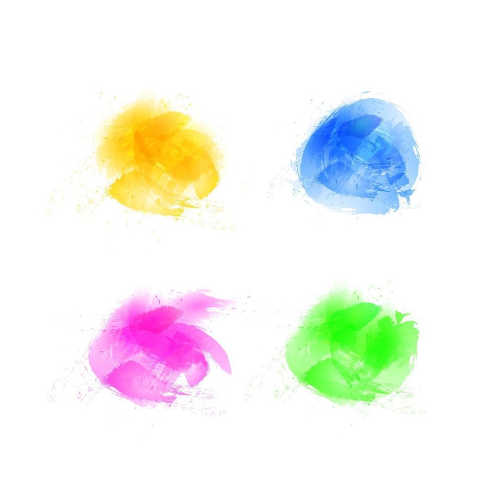 Sertie de coups de pinceau, fond de peinture au pinceau avec des taches colorées peintes à la main vecteur