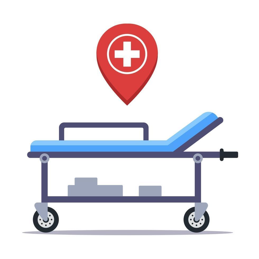civière médicale à l'hôpital pour le transport des patients. illustration vectorielle plane isolée sur fond blanc. vecteur