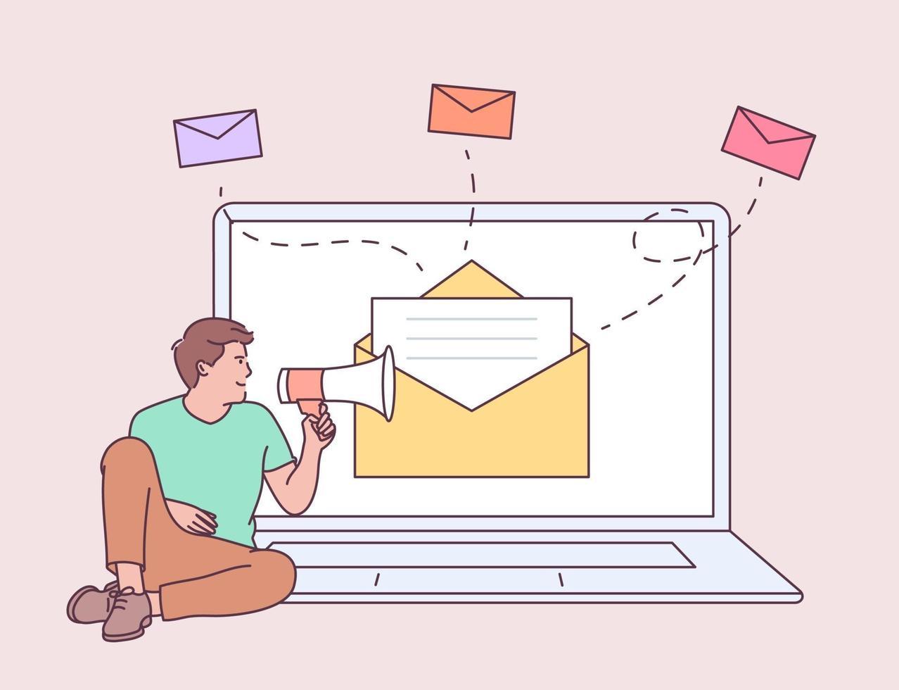 marketing numérique, concept de campagne par e-mail. jeune homme à l'ordinateur portable, tenant parler avec un mégaphone. illustration de style de ligne moderne vecteur