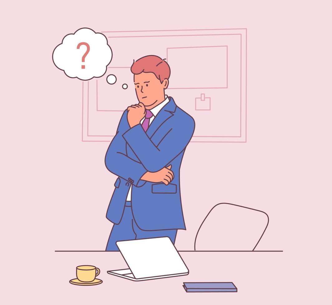 affaires, travail, succès, pensée, concept de problème. homme d'affaires pensif avec des bulles de pensée au-dessus. illustration vectorielle plane vecteur
