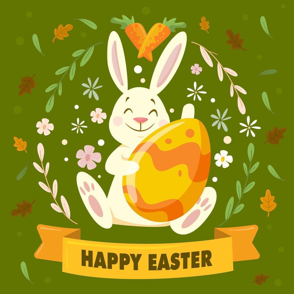 le lapin de Pâques souriant apporte un œuf vecteur