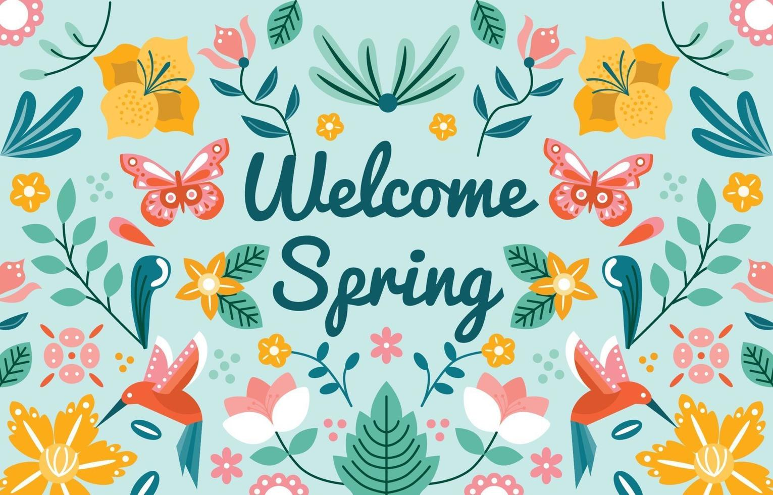 fond d & # 39; ornement de printemps accueillant vecteur