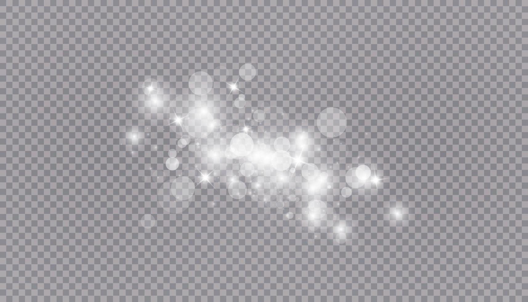 effet de lumière rougeoyante avec fond isolé de nombreuses particules de paillettes. nuage étoilé de vecteur avec de la poussière. décoration de Noël magique