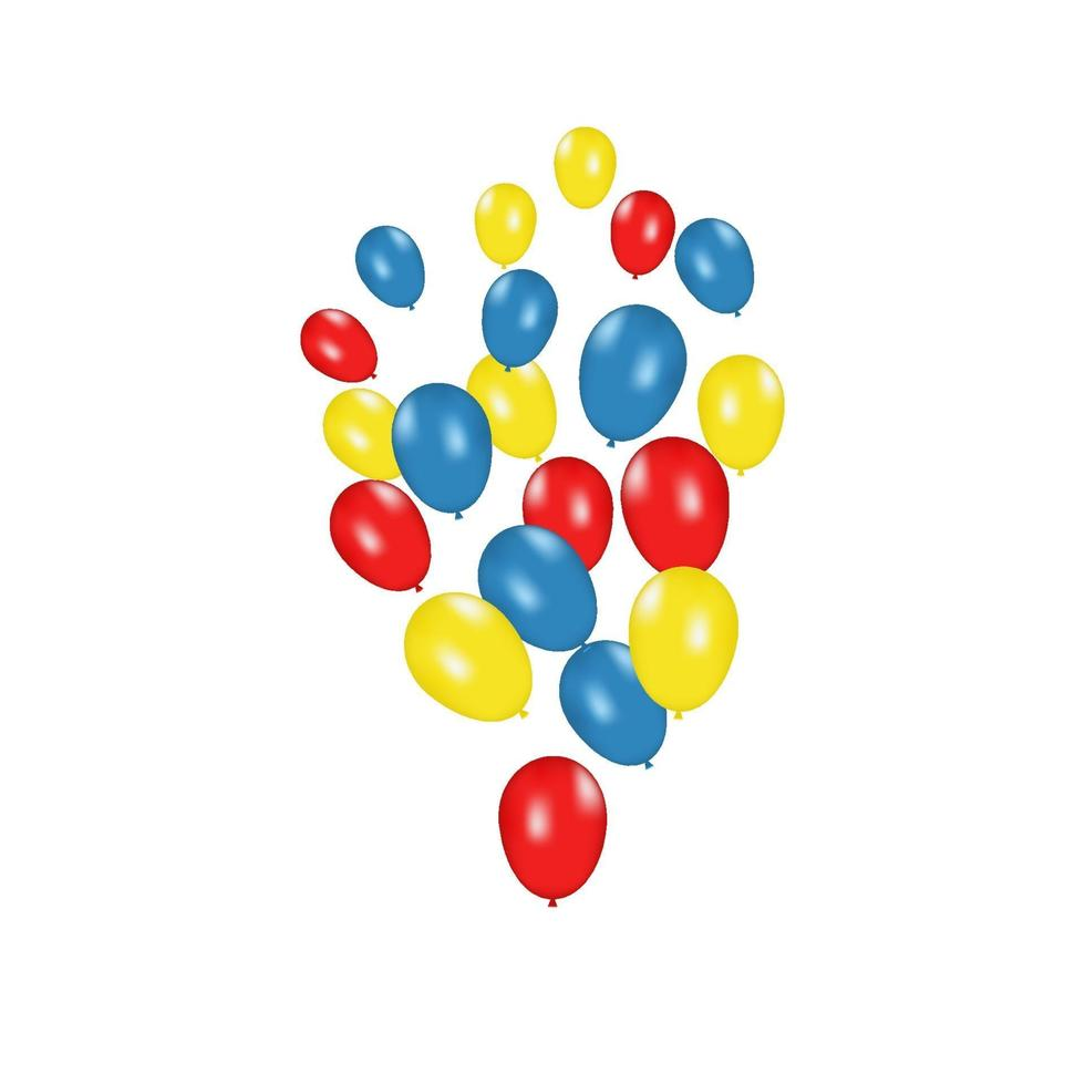 composition de couleurs de ballons réalistes de vecteur isolé sur fond blanc. ballons isolés. pour les cartes de voeux d'anniversaire ou d'autres modèles