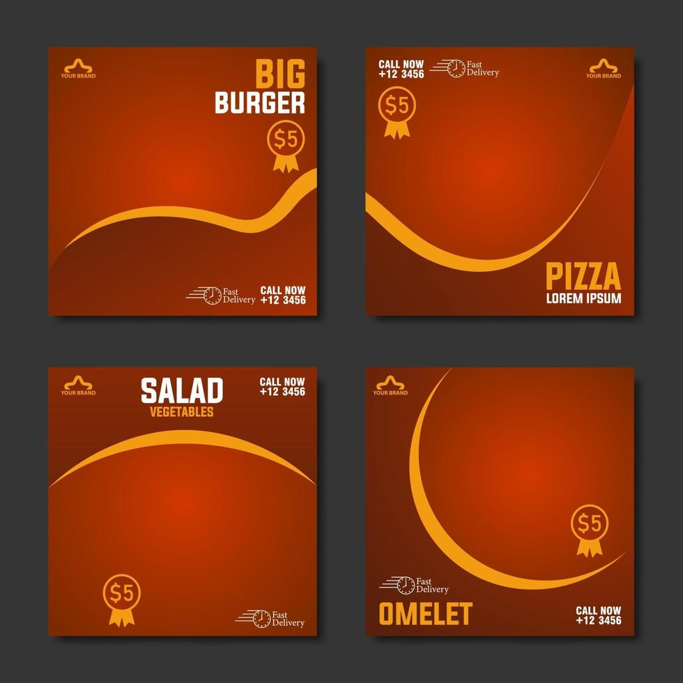 collection de modèle de publication de médias sociaux menu alimentaire vecteur