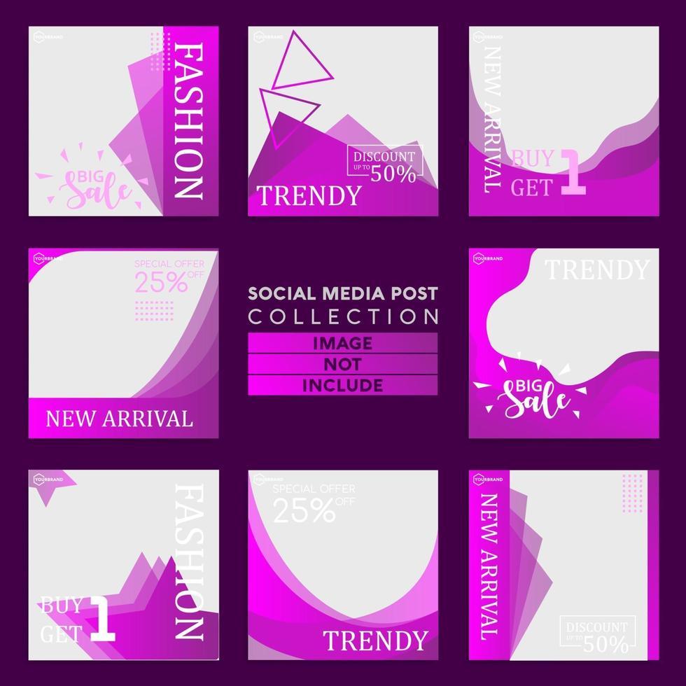 collection de modèles de publication de médias sociaux de style mode vecteur