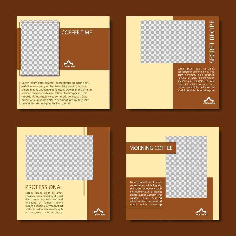 collection de modèle de publication de médias sociaux de café vecteur