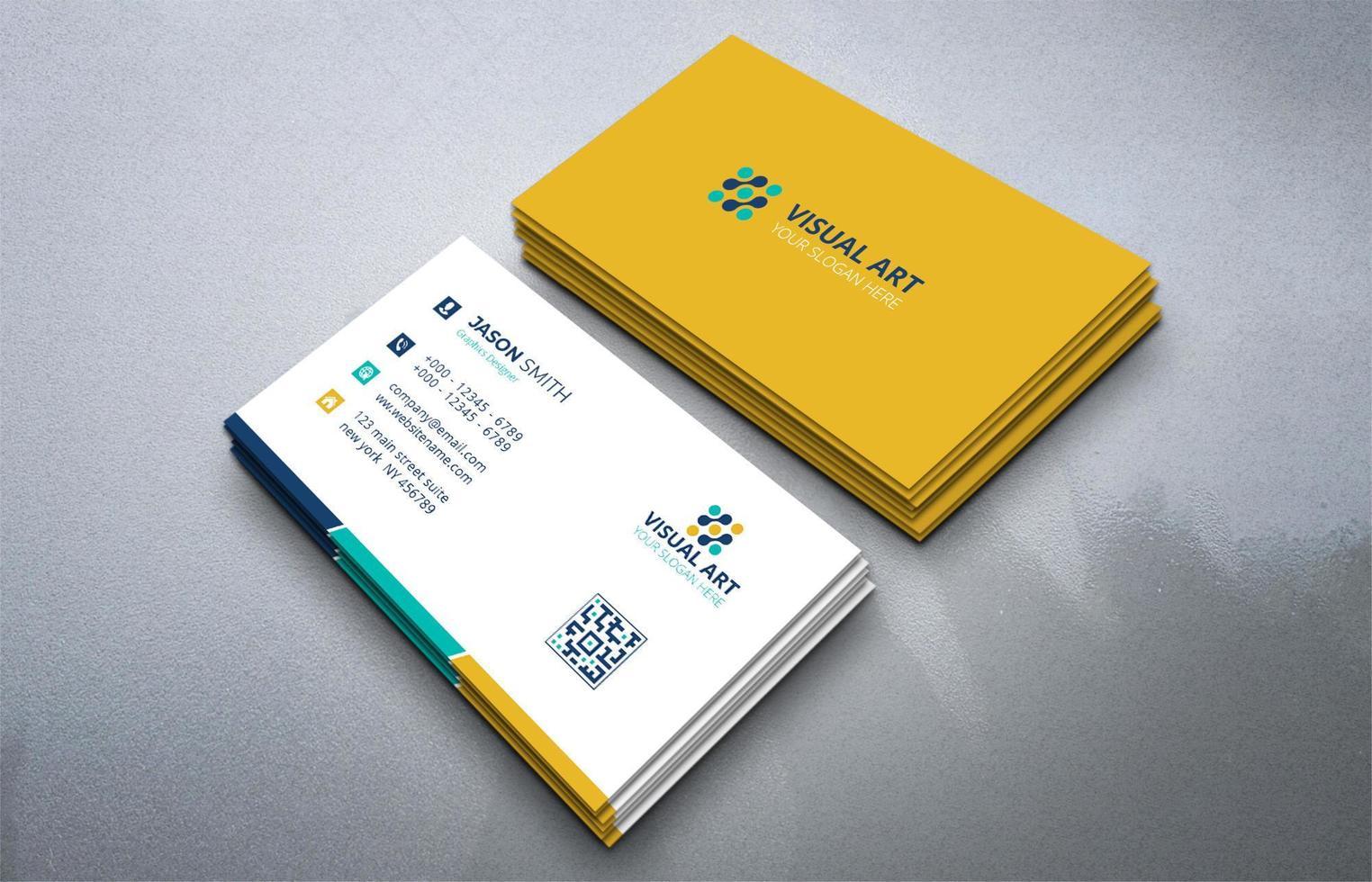 carte de visite claire jaune vecteur