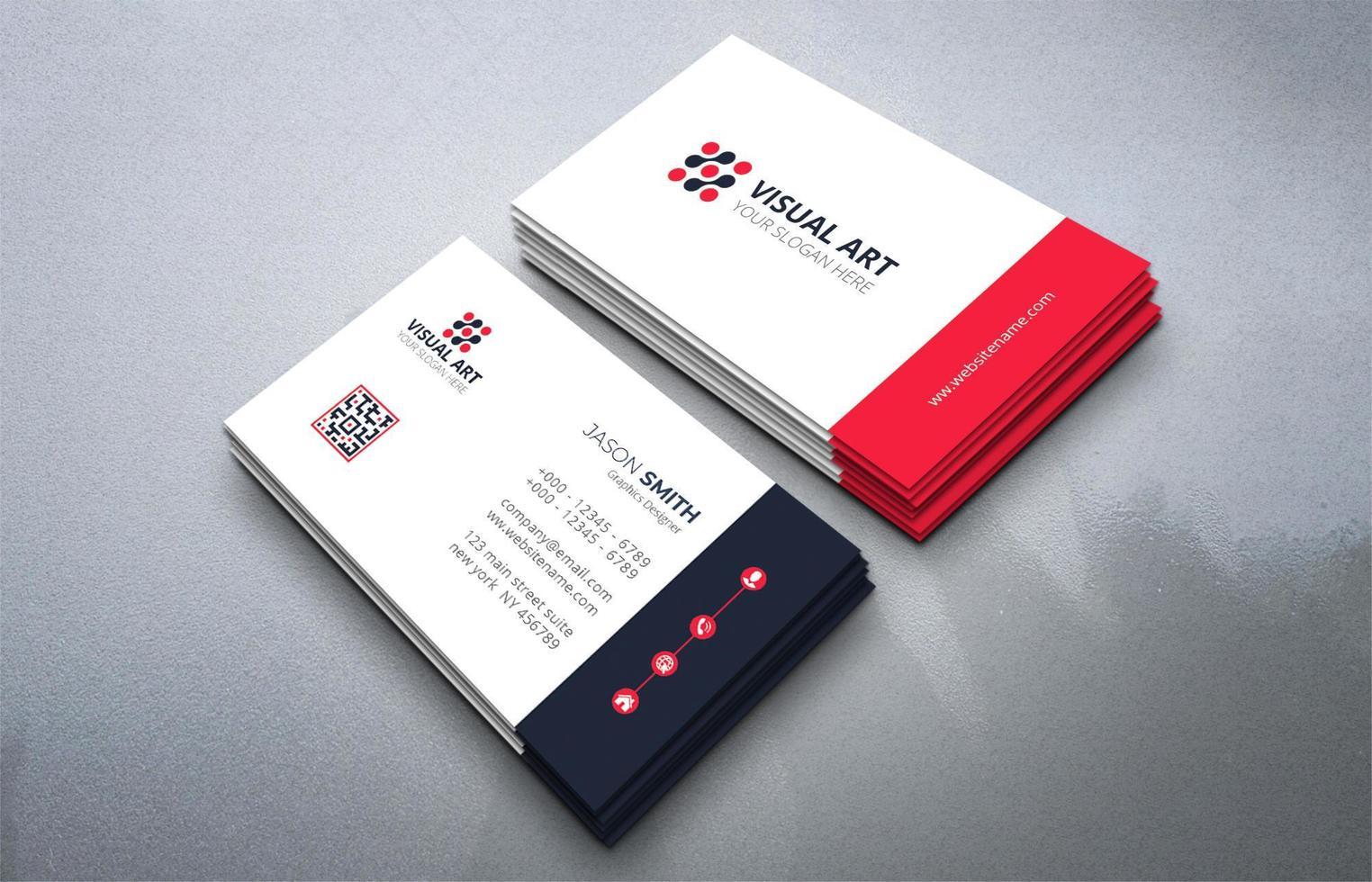 carte de visite simple en noir et rouge vecteur