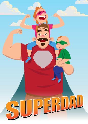 Super-héros papa et enfants vecteur
