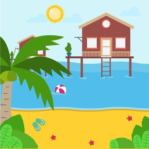 Illustration de la station de plage vecteur