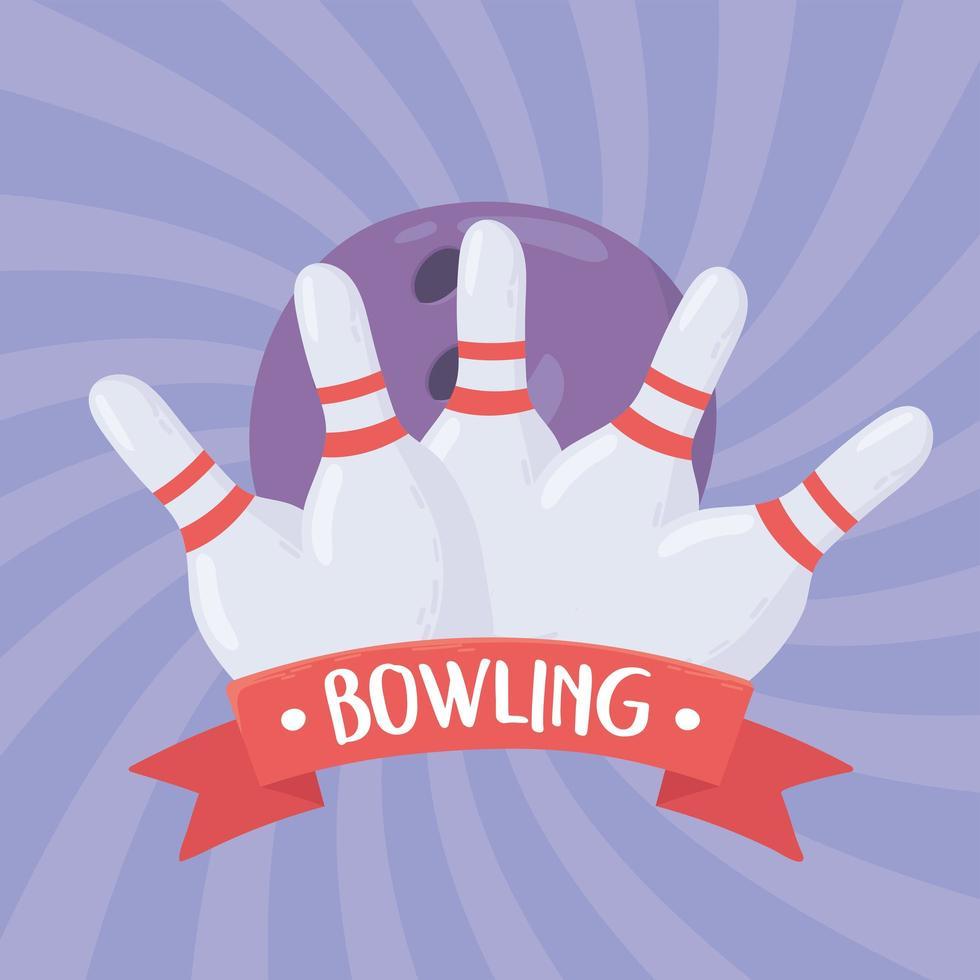 boule de bowling touchant des épingles blanches vecteur