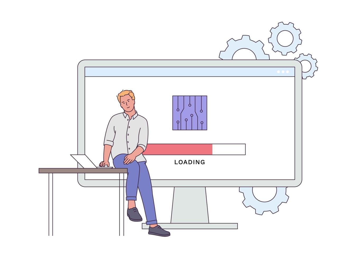 concept de micrologiciel et logiciel de l'appareil. jeune homme essayant de mettre à jour l'appareil. ingénierie de périphérique de firmware homme. illustration vectorielle plane vecteur