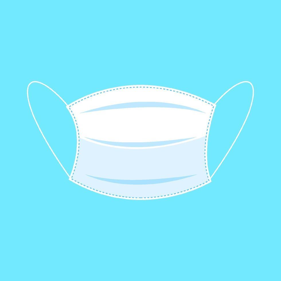 arrêtez covid-19. masque médical de protection sur fond bleu. concept de soins de santé et médical. illustration vectorielle vecteur