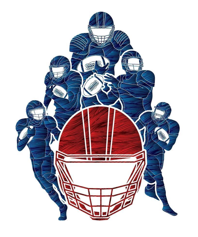 Groupe de joueurs de football américain en action pose vecteur