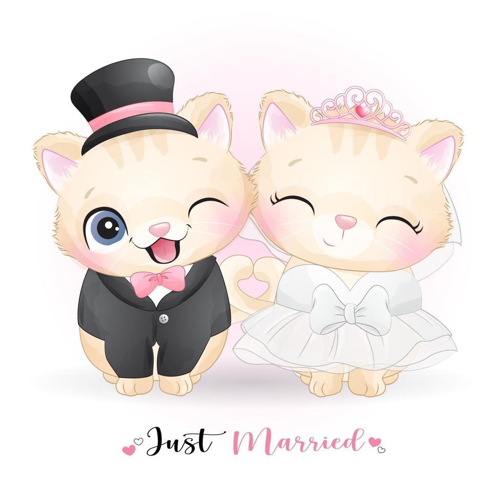 mignon doodle kitty avec des vêtements de mariage pour la saint valentin vecteur