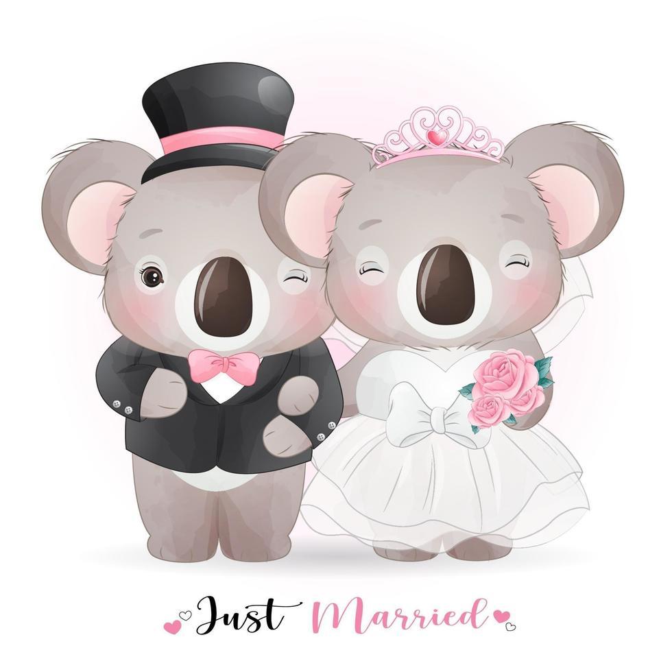 mignon, griffonnage, koala, ours, à, vêtements mariage, pour, saint valentin vecteur