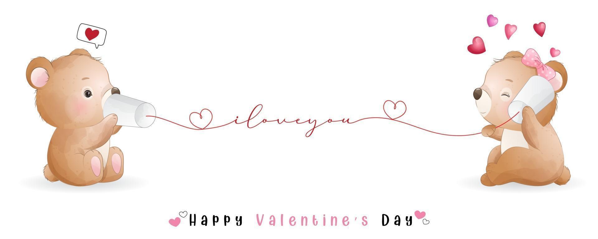 ours mignon doodle pour la collection de la saint valentin vecteur