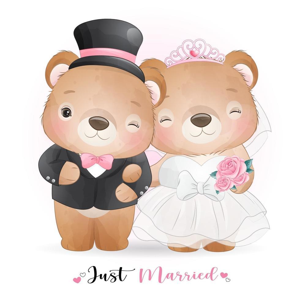 ours mignon doodle avec des vêtements de mariage pour la saint valentin vecteur