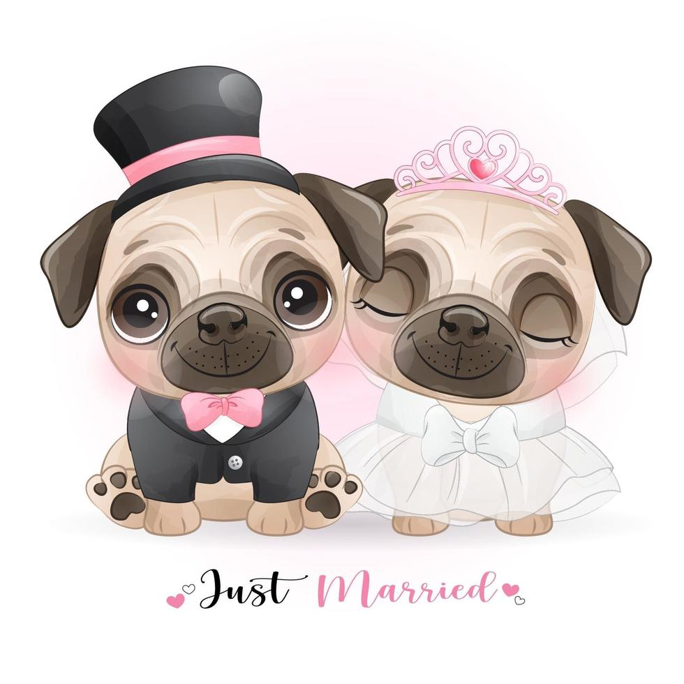 chiens mignons de griffonnage avec des vêtements de mariage pour la saint valentin vecteur