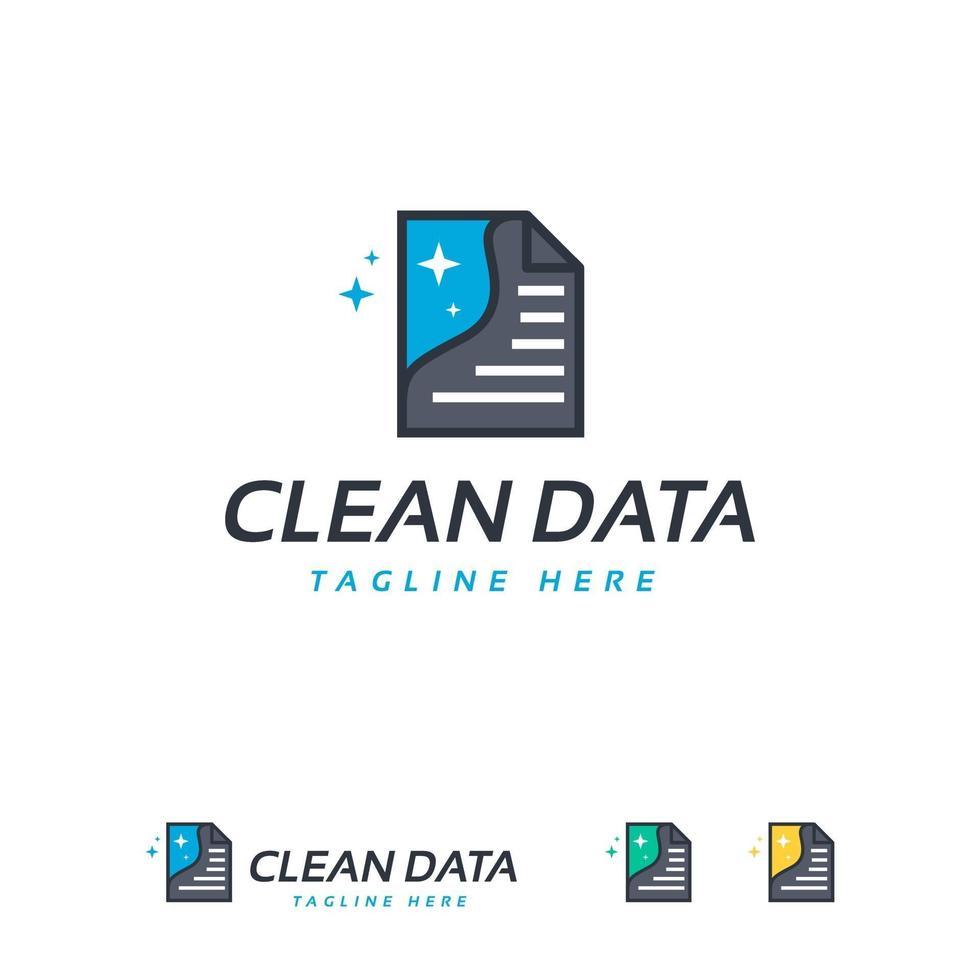 vecteur de conceptions de logo de données propres, modèle de logo de document
