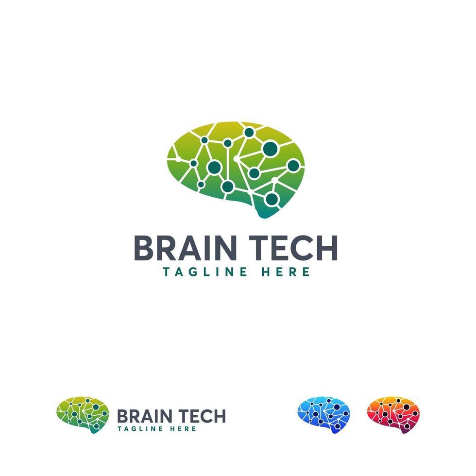 logo de technologie de cerveau, vecteur de concept de conceptions de logo de cerveau de pixel, modèle de logo de cerveau robotique
