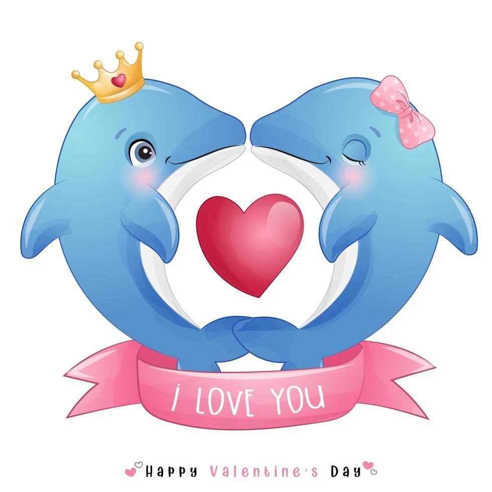 mignon doodle dauphin pour la saint valentin vecteur