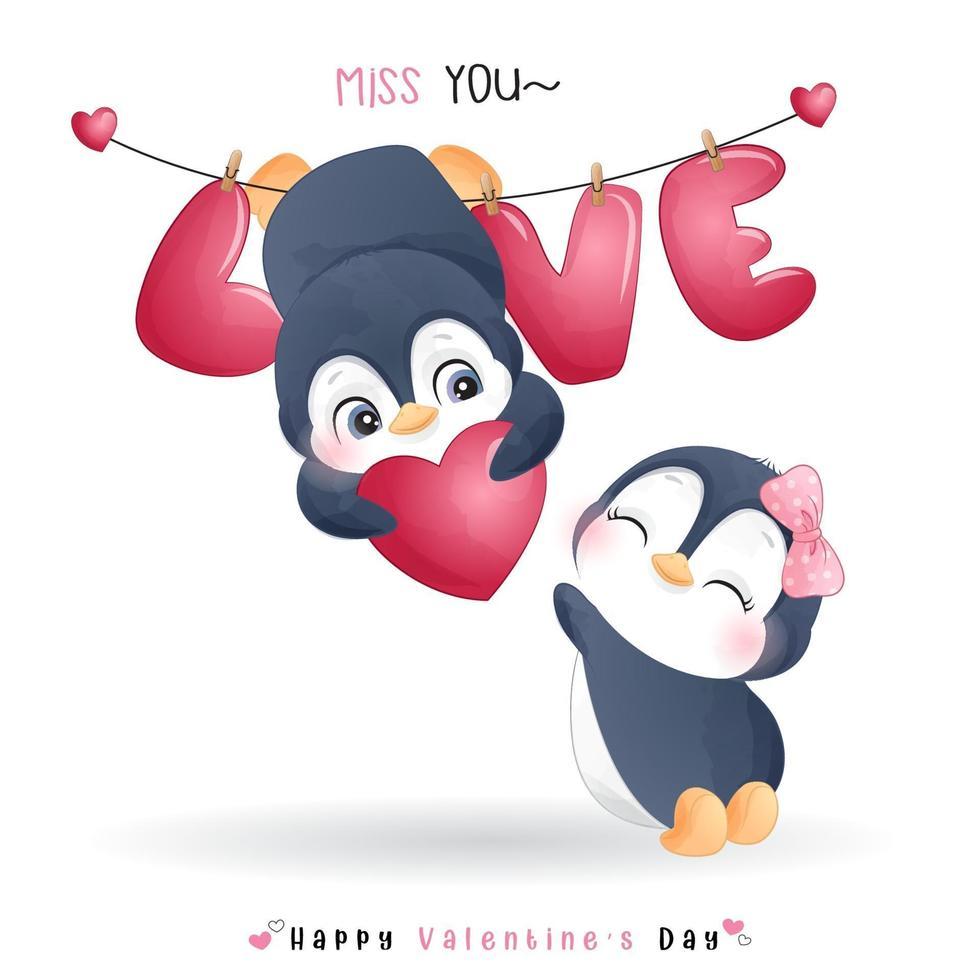 mignon pingouin doodle pour la saint valentin vecteur