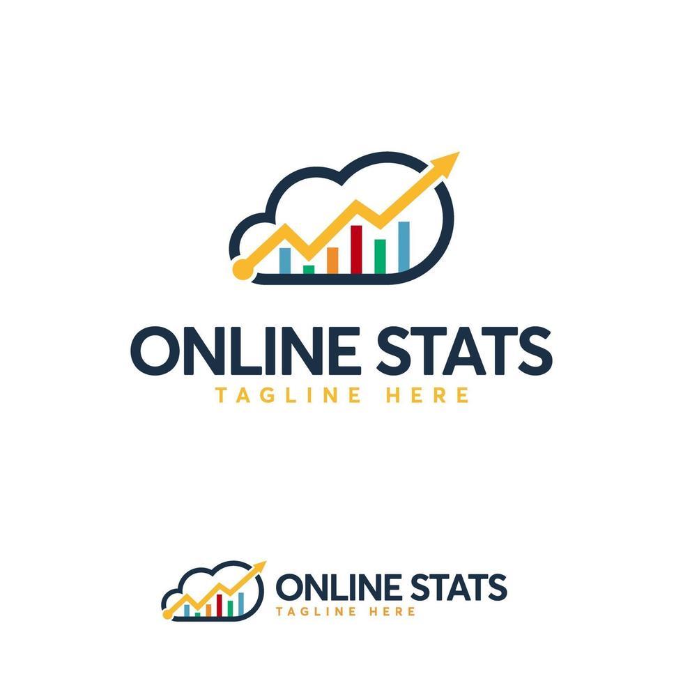 modèle de conceptions de logo de statistiques en ligne, modèle de conceptions de logo de données cloud vecteur