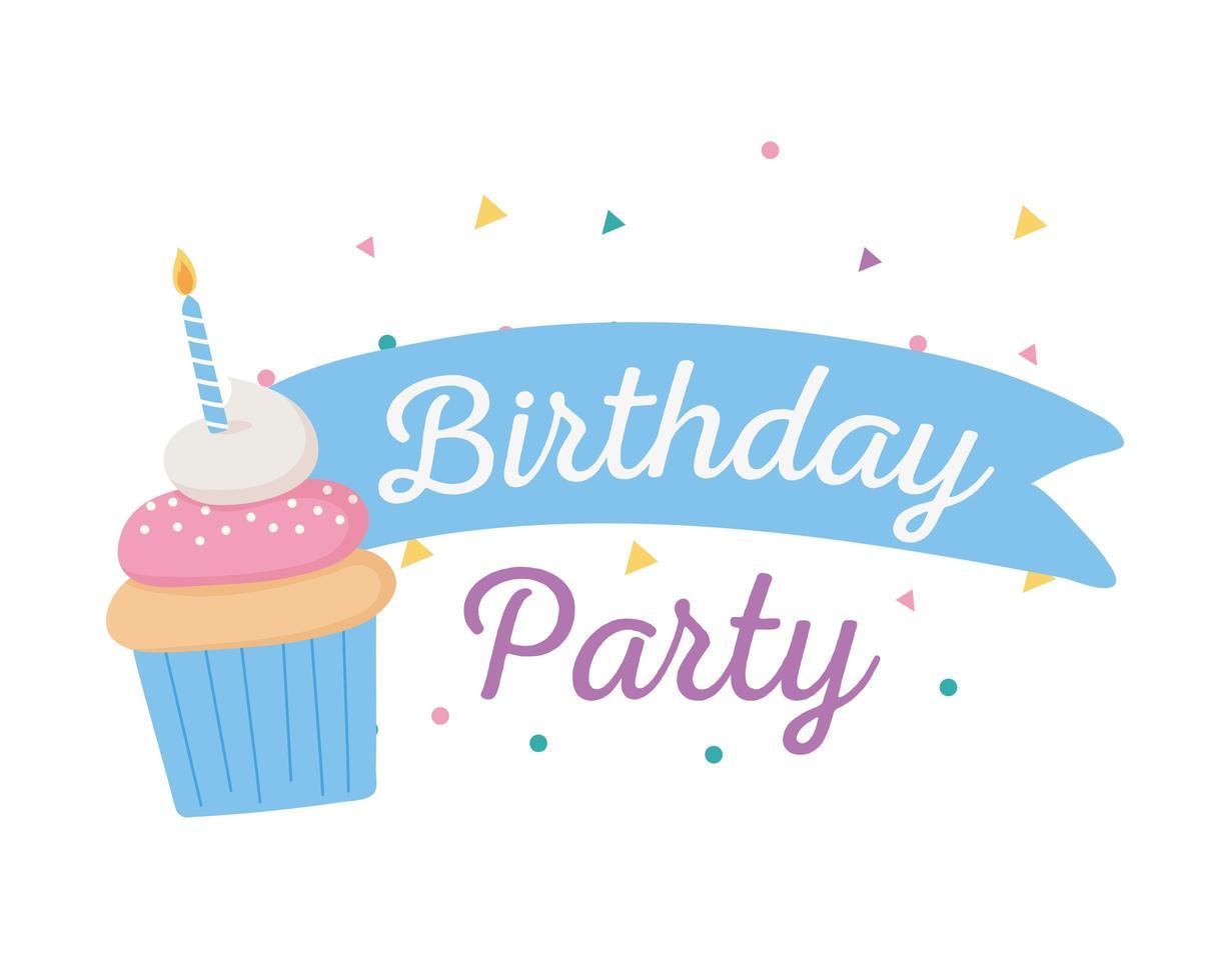 joyeux anniversaire, cupcake sucré avec fête aux bougies vecteur