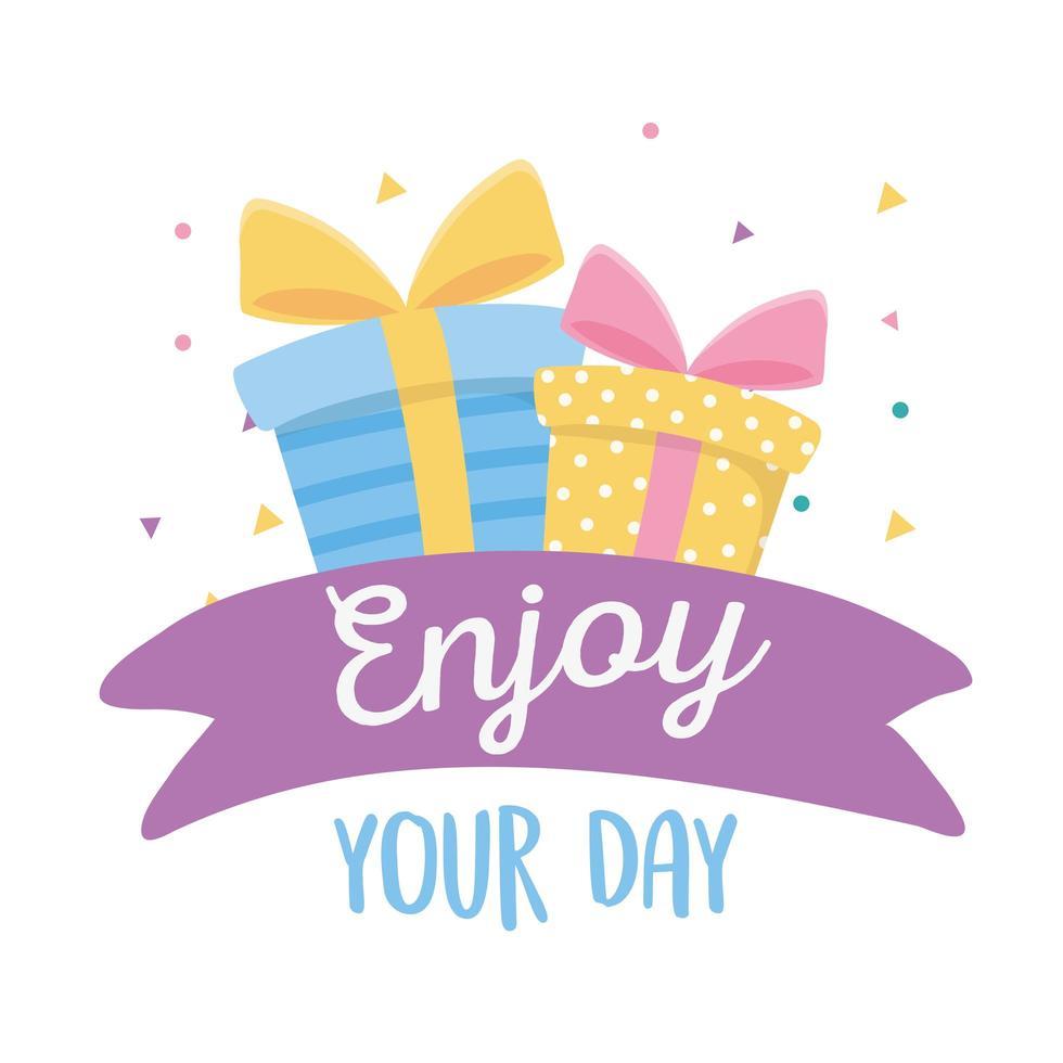 joyeux anniversaire, coffrets cadeaux, profitez de votre fête vecteur
