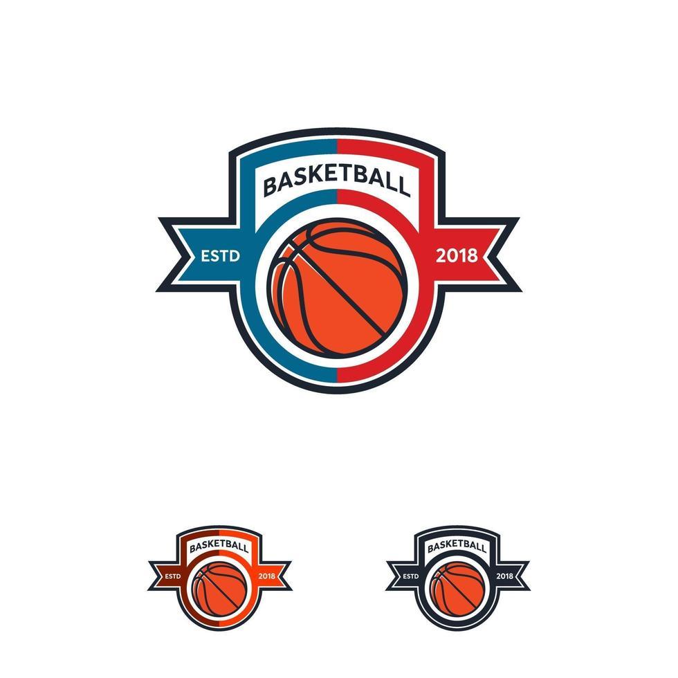 conceptions d'insigne de logo de basket-ball, emblème de logo de basket-ball, modèles vectoriels vecteur