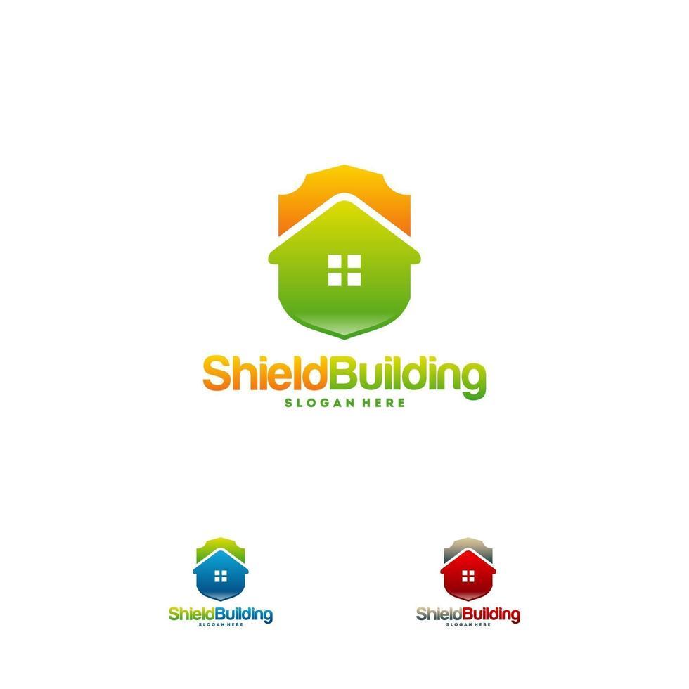 ensemble de conceptions de logo de bouclier de construction vecteur de concept, symbole de modèle de logo sécurisé maison