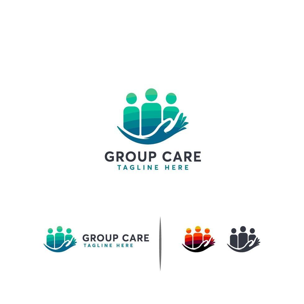concept de concept de logo de soins de groupe, modèle de logo de personnes vecteur