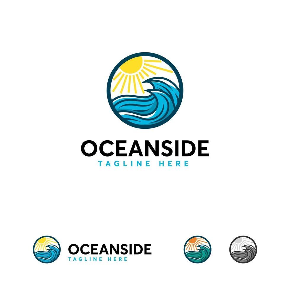 logo océan conceptions vecteur de concept, modèle de conceptions de logo océan emblématique moderne