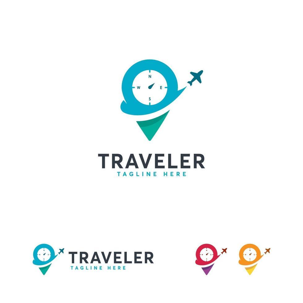 modèle de conceptions de logo de voyage, modèle de conceptions de logo de point de voyage vecteur