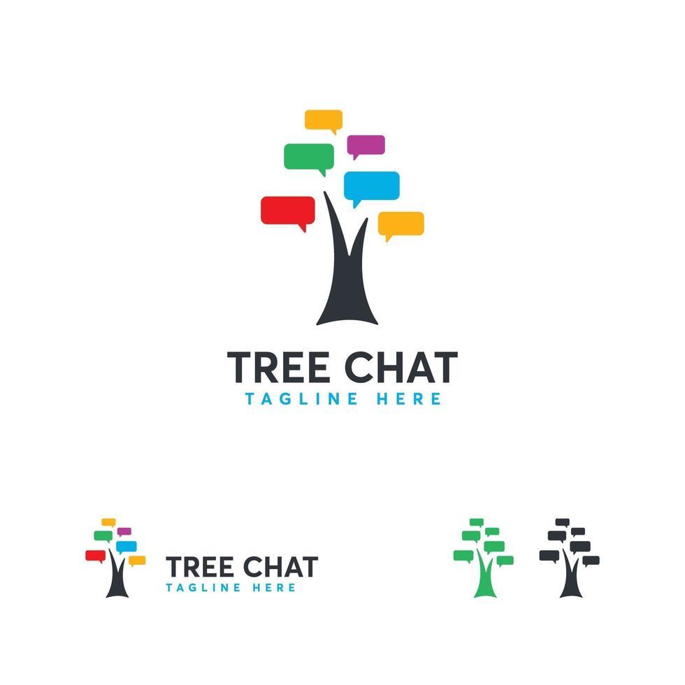 arbre chat logo conceptions vecteur concept, arbre discuter du symbole du logo