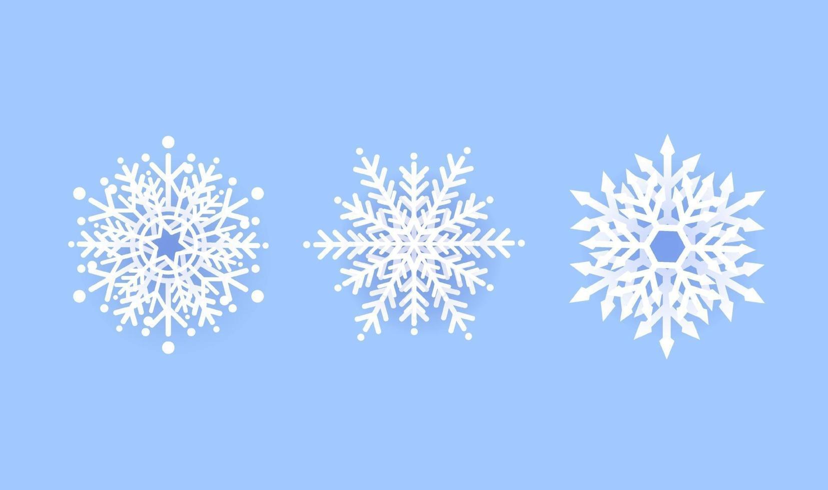 flocon de neige hiver définir la conception d'icône sur fond bleu. illustration vectorielle vecteur