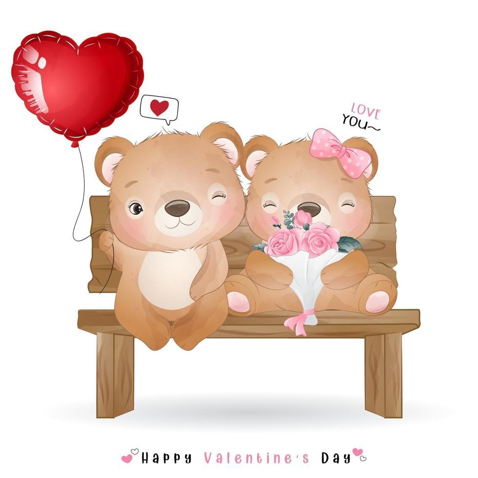 ours mignon doodle pour la saint valentin vecteur