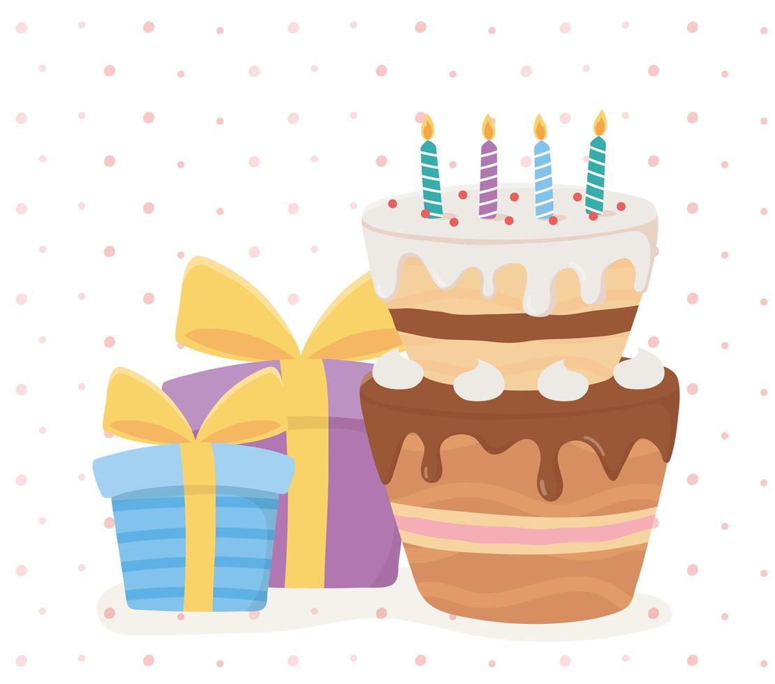 icônes de célébration joyeux anniversaire vecteur