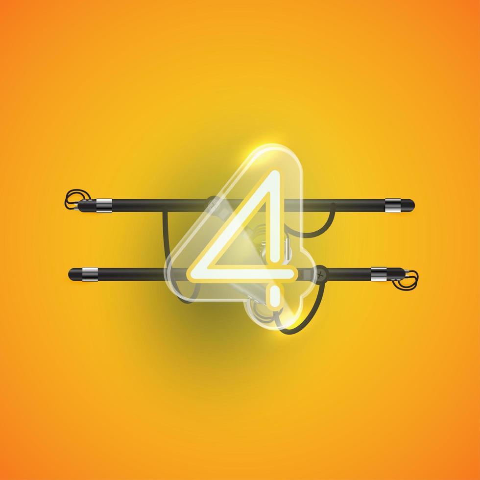 caractère néon réaliste '4' avec boîtier en plastique autour, illustration vectorielle vecteur