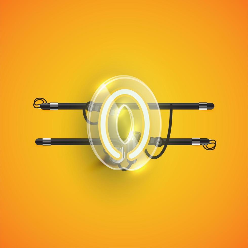 caractère néon réaliste '0' avec boîtier en plastique autour, illustration vectorielle vecteur