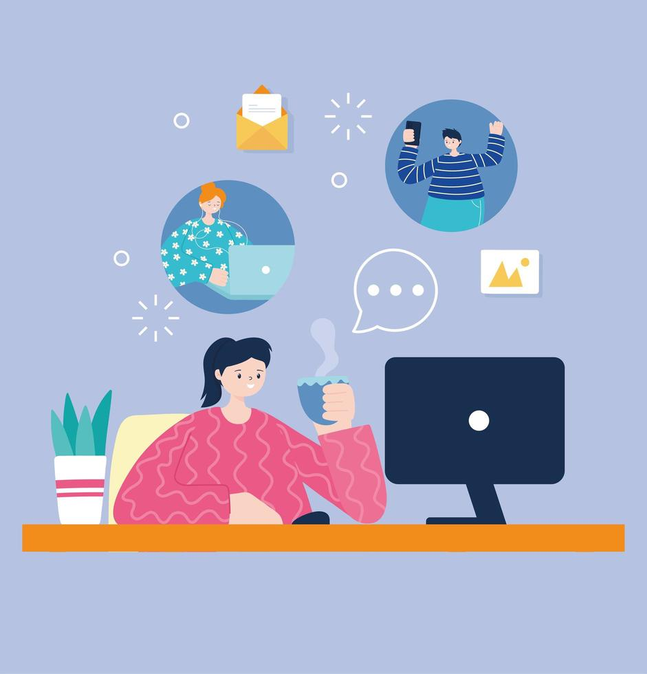 jeune femme, à, tasse café, utilisation, ordinateur, pour, médias sociaux vecteur
