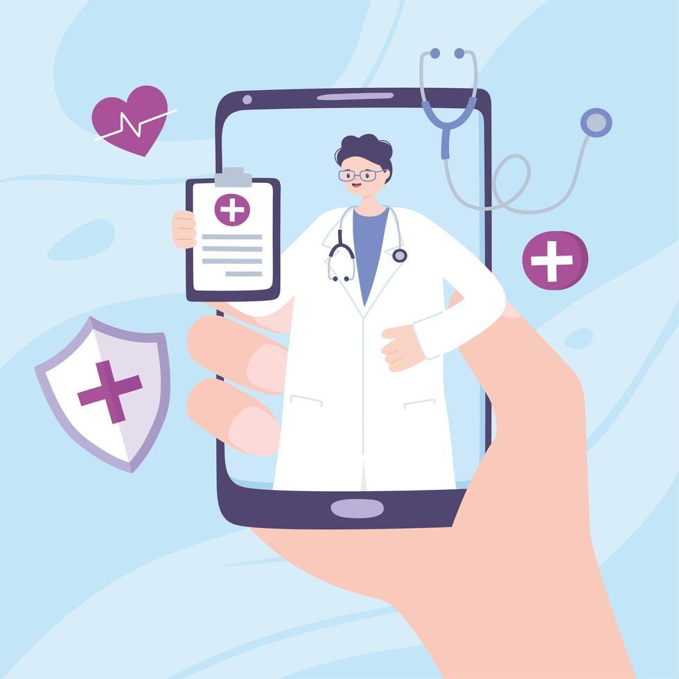 concept de télémédecine avec médecin sur le smartphone vecteur