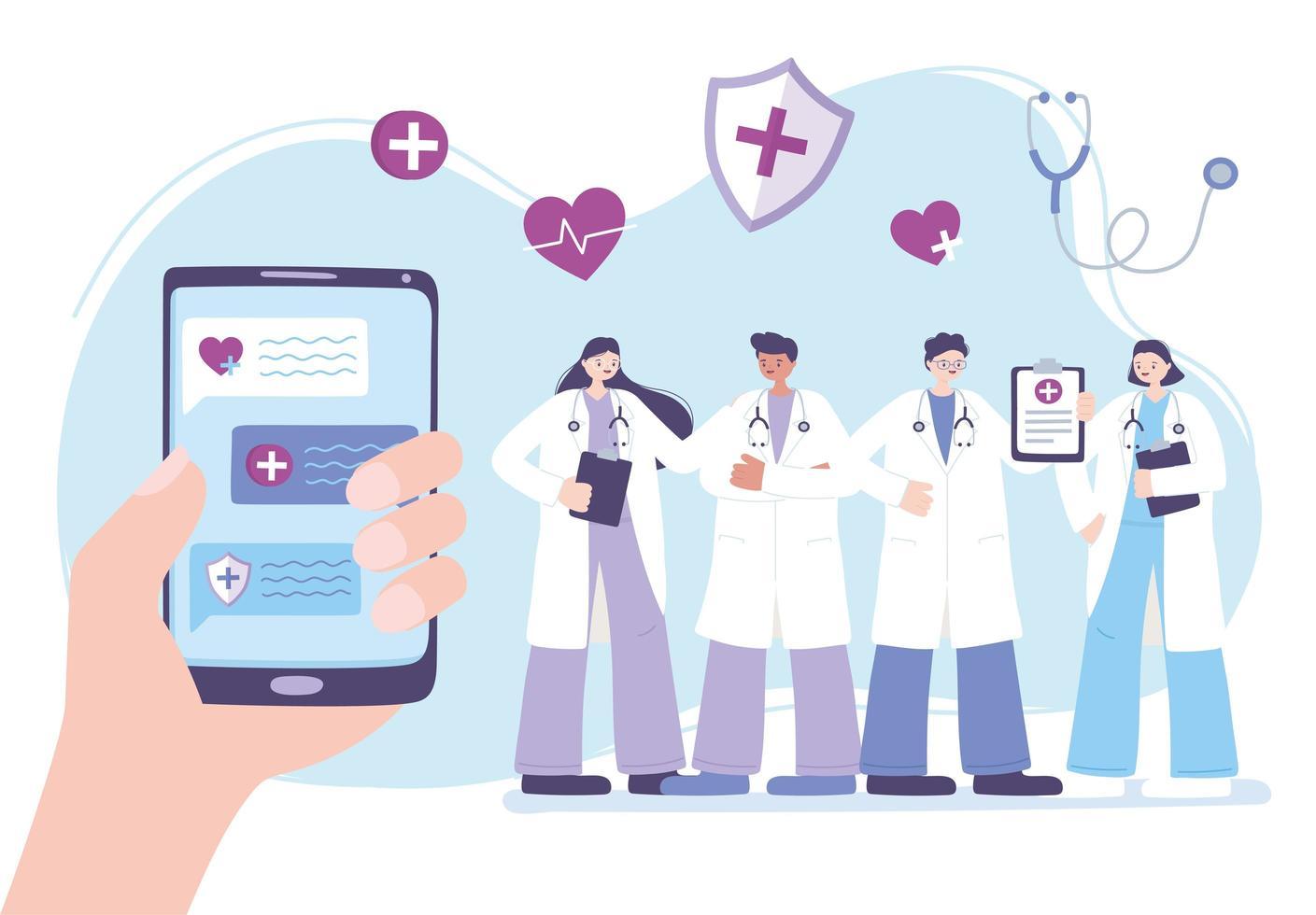 concept de télémédecine avec des médecins et une main tenant un téléphone vecteur