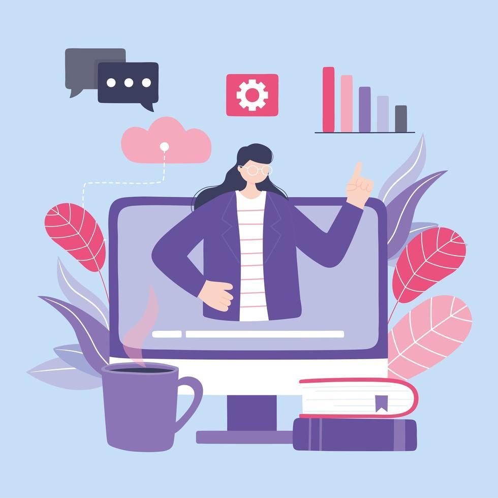 formation en ligne avec une femme à l & # 39; ordinateur vecteur